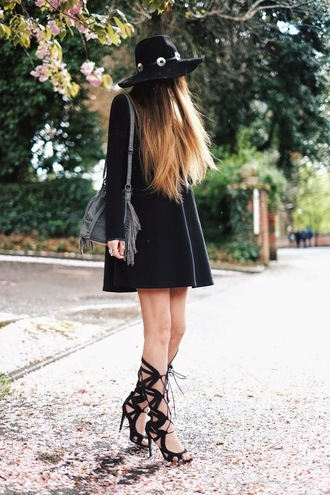 moon magik blogger grey bag fringed bag black hat black dress long sleeve dress gladiators black sandals