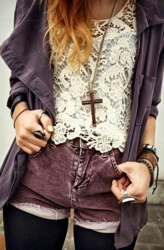 blouse shorts lace shirt purplish jacket cross necklace ring bracelets