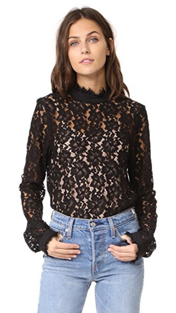 WAYF Berklin Lace Top in black