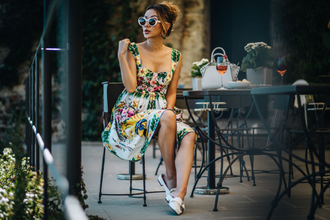 not jess fashion blogger dress shoes bag loafers floral dress summer dress summer outfits