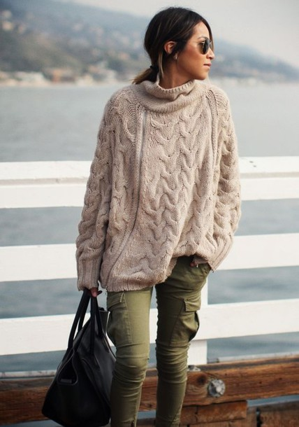 Pants: army green, knitwear, khaki pants, heavy knit jumper ...