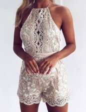 romper,zefinka,white lace playsuit,jumpsuit