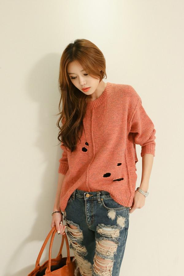 sweater korean fashion holey knit
