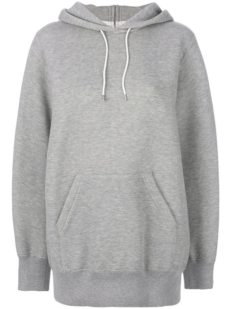Sacai hoodie oversized women cotton grey sweater