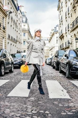 coat grey coat pants black black pants boots bag fur bag cap