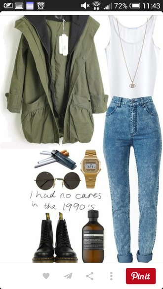 jeans high waisted jeans white tank top camo jacket cardigan jacket shoes shirt