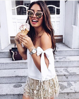 blouse off the shoulder top white skirt nude skirt embellished skirt mini skirt