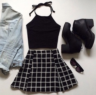 skirt american apparel black and white