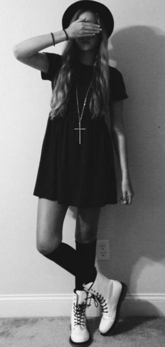 dress black little black dress doc martins white necklace hat socks knee high socks