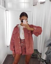 jacket,skirt,vintage,pink,mini skirt,denim jacket,rust,red,denim,coat,instagram,model,fashion,pastel,urban outfitters,jeans,jacket skirt,hot pink,matching set,this colour or similar!!,washed orange/red denim jacket,suede pink