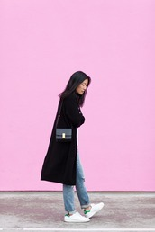 andy heart,blogger,jeans,stan smith,black coat,cardigan,shirt,shoes,bag