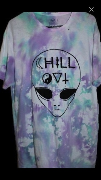 t-shirt chill tie die triangle yin yang shirt cross alien colorful hipster goth goth hipster jacket