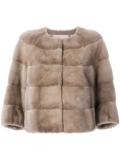 Cara Mila jacket fur women nude silk