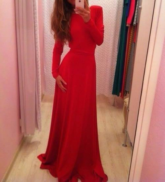 dress, red dress, red prom dress, long sleeve dress, long prom dress ...