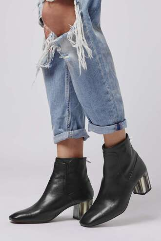 shoes topshop black leather boots metallic shoes ankle boots