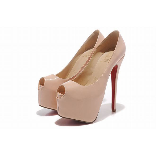 Pink Patent Leather Christian Louboutin Highness 160mm Platform Peep Toe Pumps Red Sole Shoes