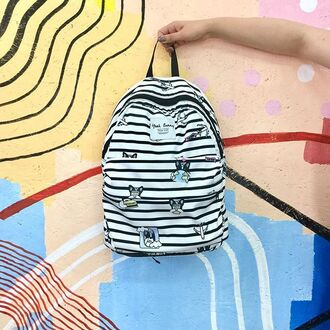 bag yeah bunny frenchie cute dogpattern backpack stripes pattern