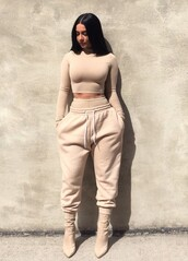jumpsuit,shirt,pants,leggings,crop tops,sweater,tan,baddies,sweatpants,nude,jumper,beige,joggers,t-shirt,tumblr,instagram,black dress,jeans,coat,black,white,pink,red dress,brown,love,cute,romper,nude pants,nude top