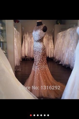 dress champagne dress prom dress mermaid prom dress sparkly dress