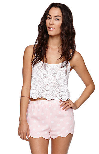La hearts scalloped shorts at pacsun.com