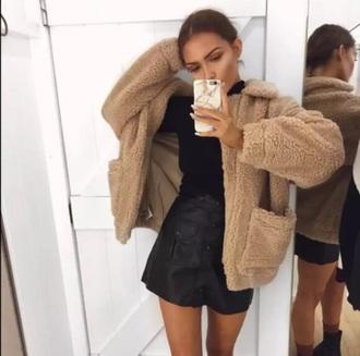 coat girly brown fur fur coat zip tumblr