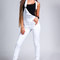 Women's white full length denim slinky overalls one piece