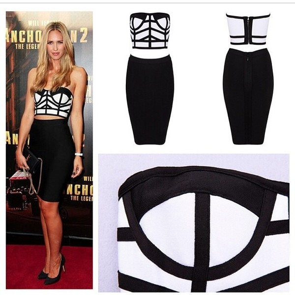 bandage dress herjunction celebrity style 2piece dress sexy dress black and white dress herve leger herve leger celebboutique.com bodycon dress hot dress sales pencil dress fashion blogger strapless dress dress