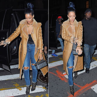 jeans coat rihanna fall outfits pumps choker necklace necklace jewels