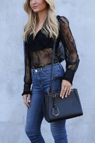 bag tumblr black bag shoulder bag top lace top black lace top black top see through top see through denim jeans blue jeans underwear