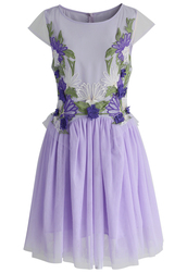 dress,chicwish,orchid embroidered fairy tulle dress in violet,tulle dress,summer dress,violet dress,party dress,chicwish.com,embroidered dress