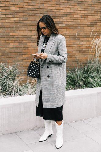 coat grey coat tumblr plaid coat checks coat boots white boots fall outfits streetstyle bag