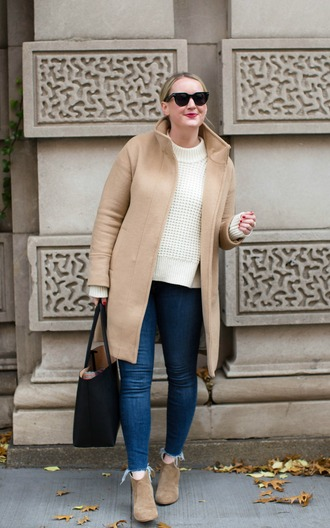 wit&whimsy blogger sweater coat jeans bag shoes beige coat winter outfits tote bag ankle boots white sweater