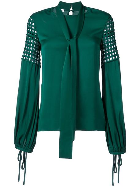 oscar de la renta blouse women silk green top