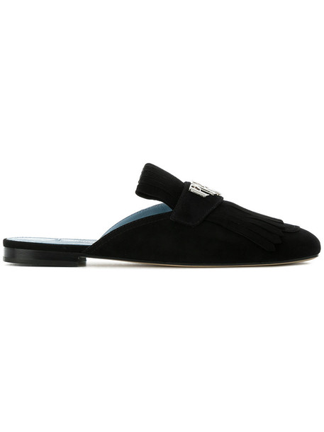 Prada women slippers leather suede black shoes