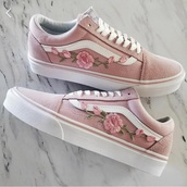 shoes,vans,sneakers,skateboard,flowers,rose,flower shoe