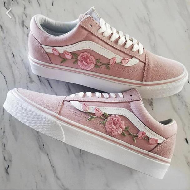 cb8c975e9e4f shoes vans sneakers skateboard flowers rose flower shoe