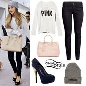 shoes,pink,skinny low jeans,prada,ariana grande,pink by victorias secret,victoria's secret,louis vuitton,comme des fuckdown,jeans,sweater,hat,white sweater,black jeans,outfit,beanie,bag,style,cardigan