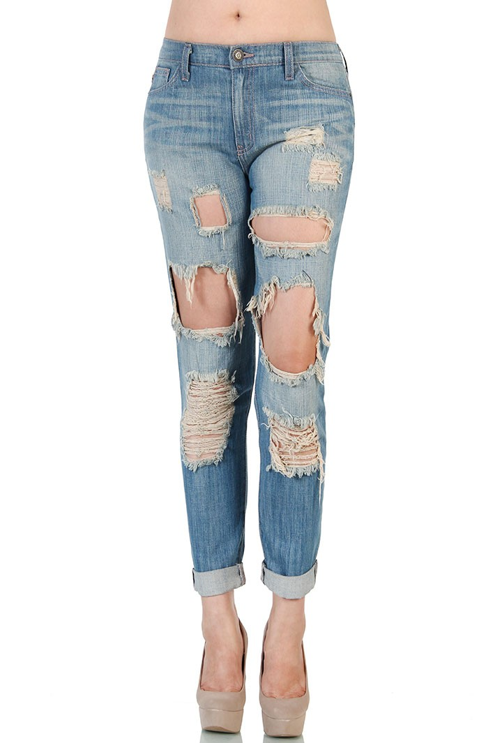 Destroyed Boyfriend Jeans - Blue