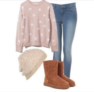 polka dots knitted beanie ugg boots