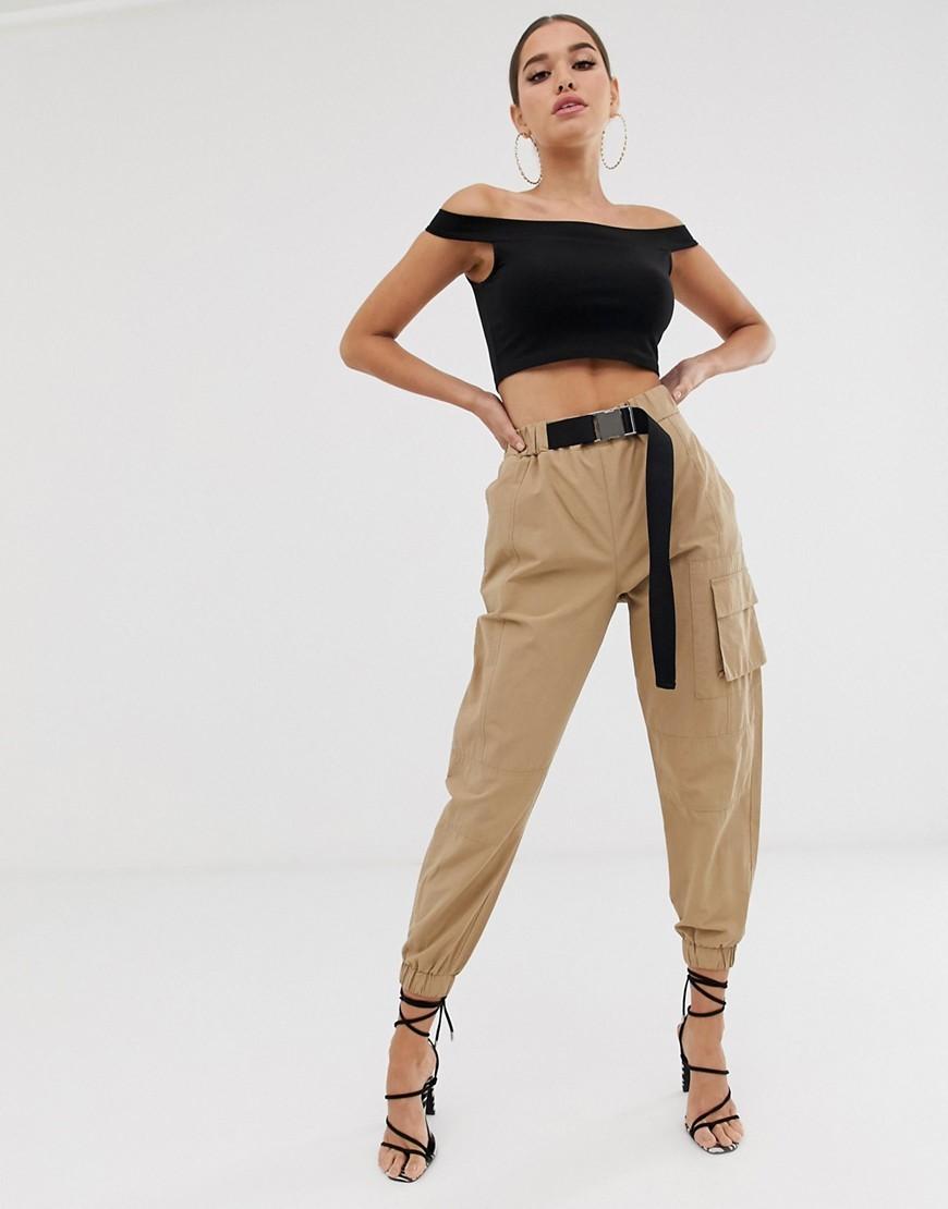 ASOS DESIGN high waist combat trouser with belt