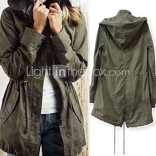 Frauen Casual Kordelzug Military Armee-Grün Hoodie Trenchcoat Jacke - USD $ 26.99