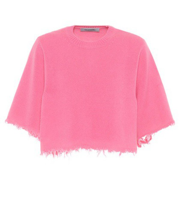 Valentino Cropped cashmere sweater in pink