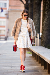 style and trouble,blogger,top,red shoes,platform shoes,faux fur jacket,skater skirt,two-piece,skirt,shoes,bag,jewels,sunglasses,make-up