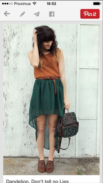green boho forest green skirt high low skirt