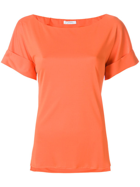 Versace Collection blouse women yellow satin orange top