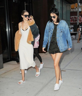 dress kendall jenner gigi hadid jacket white dress black coat denim jacket black dress aviator sunglasses white sneakers