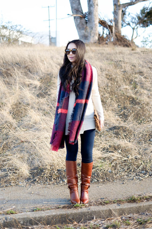 the fancy pants report blogger scarf jeans bag sunglasses