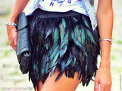 skirt,blue skirt,feathers,texture,black,shorts,shirt,green,raven,beautiful,unreal,high waisted skirt,feather skirts,spring outfits,summer outfits,feather skirt