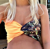 swimwear,neon,orange,bandeau,twist bandeau,bikini,crop tops,bright,coachella,camouflage
