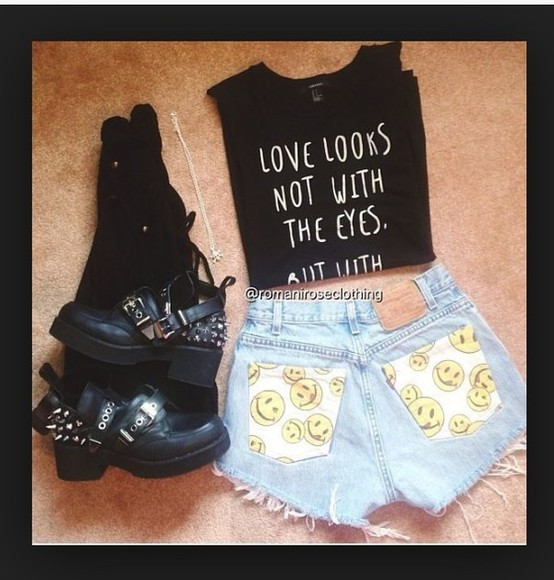 smiley face style yellow blue happy face jeans denim white print printed shorts cut off shorts shoes